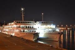 River cruise ships at night. Stock Image