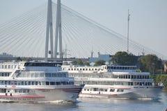 River cruise ships sailing on the river Neva. Royalty Free Stock Photos