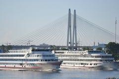River cruise ships sailing on the river Neva. Stock Image