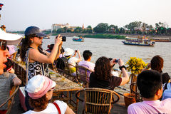 Cambodia River cruise in front of royal palace phnom penh Stock Photography