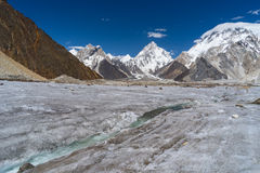 River curve of Vigne glacier in front of K2 and Broadpeak mounta Royalty Free Stock Images