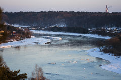 River curves. In winter time Royalty Free Stock Image