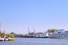 River with cutters to passenger ships and motor boats Stock Photos