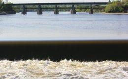 River dam. A small damn along a major river in illinois Royalty Free Stock Photo