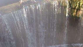 River dam water splash  in morning and fog stock video