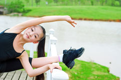 River dance girl practice Stock Image