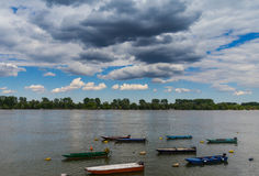 River Danube Belgrade. Beautiful landscape near river Danube, boats Stock Photo