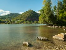 River Danube, Leopoldsberg and Kahlenbergerdorf on a sunny day Stock Photo