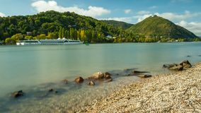 River Danube, Leopoldsberg and Kahlenbergerdorf on a sunny day Stock Images