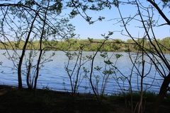 Beautiful River Danube. River Danube near city of Csepel, Hungary royalty free stock image