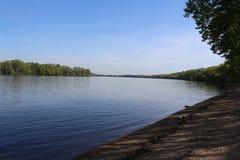Beautiful River Danube. River Danube near city of Csepel, Hungary stock image