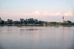 River Danube with a beautiful sky. River Danube in Serbia, fisherman's, boats and birds on a shore of river island stock images