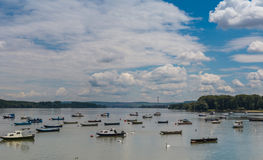 River Danube, small fishing boats, beautiful blue sky Stock Images