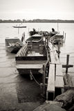 River Danube traditional fishing boats Royalty Free Stock Photography