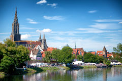 River Danube and Ulm skyline with Ulmer Munster stock photography