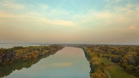 River Danube view. River Danube aerial view near Rajka and Cunovo, part of the waterways made for the Gabcikovo Nagymaros dams stock photo