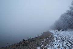 River Danube in winter stock photo