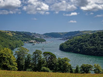 River Dart in Dartmouth, Devon, England. Hilltop view of the river Dart and the holiday resort of Dartmouth in Devon, England, UK royalty free stock photo