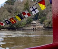 River Dart Dartmouth Greenway House Boat House. On the River Boat heading to Dartmouthnn stock photo