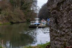 The River Dart, near Dartmouth Devon A small upstream boat yard stock photo