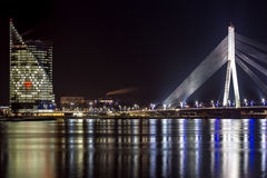 River Daugava, cable bridge and angel Stock Photo