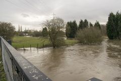 River Dearne In Flood On April 3rd 2018 Wath Upon Dearne, Rother. The River Dearne In Flood On April 3rd 2018 Between Bolton Upon Dearne And Wath Upon Dearne Royalty Free Stock Image