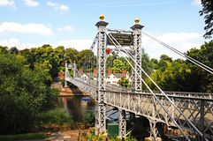 River Dee Suspension Bridge, Chester. Stock Photos
