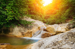 River deep in mountain forest. Stock Image