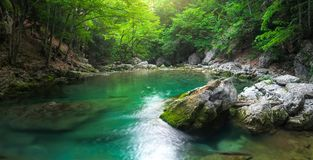 River deep in mountain at summer. Royalty Free Stock Photos