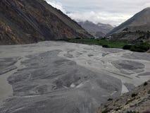 River Delta near Himalayan Town Kagbeni Stock Photography