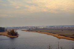 River Delta. The view from the hills of the village royalty free stock photography