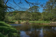 River Derwent near Wrench Green, Scarborough, North Yorkshire stock image