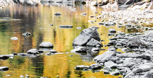 river detail with autumnal refelctions Royalty Free Stock Photos