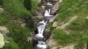River detail on the Pyrenees (Spain) Vall de Nuria, mountain valley in the Pyrenees stock video footage