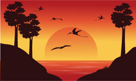 On the river dinosaur pterodactyl scenery Stock Photography