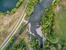River diversion dam - aerial view Stock Image