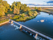 River diversion dam - aerial view Stock Photos