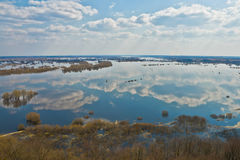 River Dnepr in spring time. View from above stock photo
