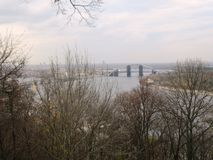 River Dnieper with Bridge. In Kiev / Ucraine Royalty Free Stock Images