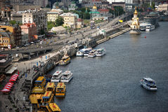 River Dnieper and river trams Stock Photos