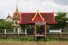River dock to Thai temple. Dock to Thai temple from bang pakong river, Cha Choeng Sao, Thailand Royalty Free Stock Images
