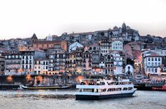 River Douro and the city of Porto at dusk Stock Photo