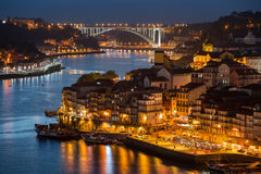 River of Douro at twilight. City of Porto, Portugal royalty free stock image