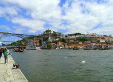 River Douro. Walk around city Porto. View of the bridge and river Douro. Porto - the second largest after Lisbon city in Portugal. The city is often called the stock images