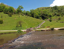 The river Dove at Dovedale in Derbyshire. Stock Photos