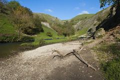 The River Dove, Dovedale, Derbyshire, England. Dovedale in the Peak District, Derbyshire, England is a wonderful area for walking Stock Photo