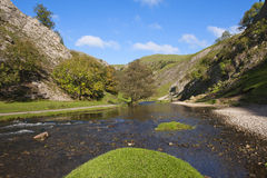 The River Dove, Dovedale, Derbyshire, England. Dovedale in the Peak District, Derbyshire, England is a wonderful area for walking Royalty Free Stock Image