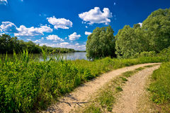 River Drava landscape and path Royalty Free Stock Photography