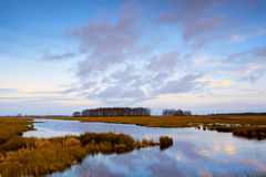 River in Drenthe before sunset Stock Photo