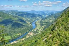 River Drina, Serbia. Winding River Drina in Serbia royalty free stock photography
